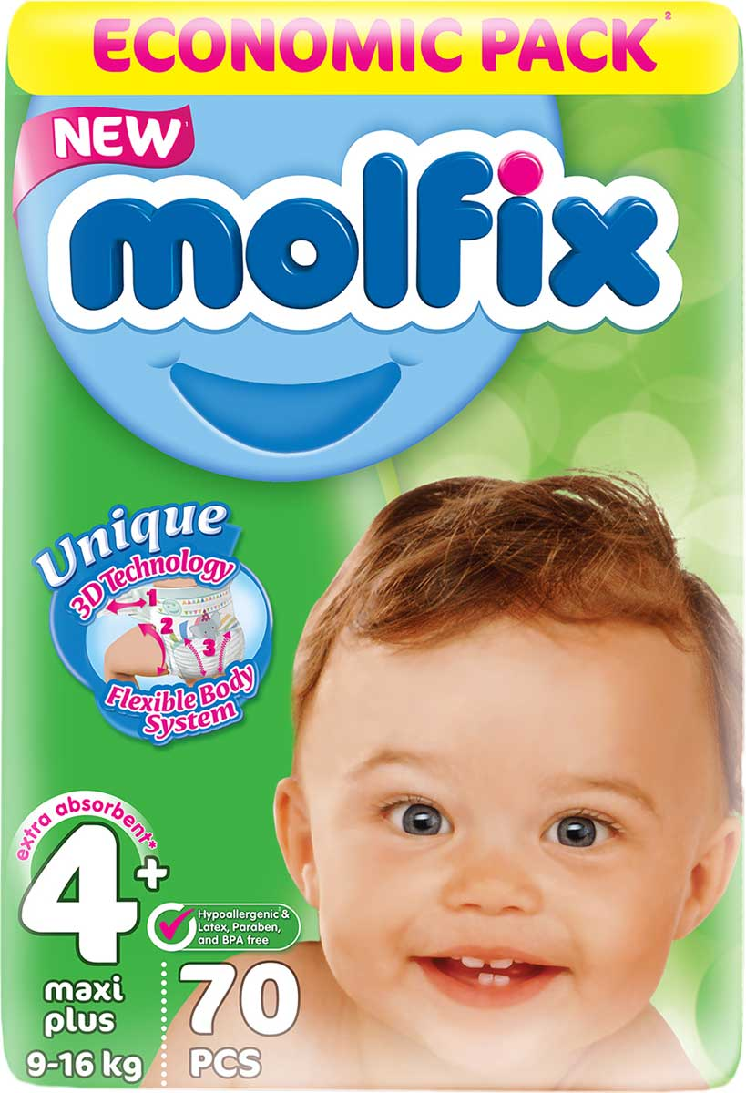 Molfix 3D Подгузники Макси Плюс 9-16 кг 70 шт подгузники molfix подгузники макси плюс 4 9 20 кг 54 шт