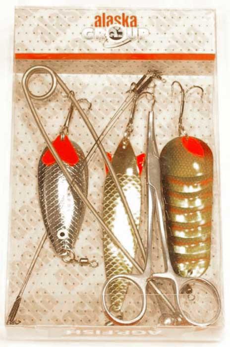Рыболовный набор для ловли щуки на блесну. В составе металлический зевник, металлический зажим, три блесны большого веса, оснащенные титановые поводки. Состав щучьего набора: зевник - 1 штука, корнцанг - 1 штука, блесна колеблющаяся Atemi 75 мм, 18 г - 1 штука, блесна колеблющаяся Atemi 87 мм, 30 г - 1 штука, блесна колеблющаяся Atemi 90 мм, 32 г - 1штука, поводок титановый оснащенный с вертлюгом - 3 штуки.