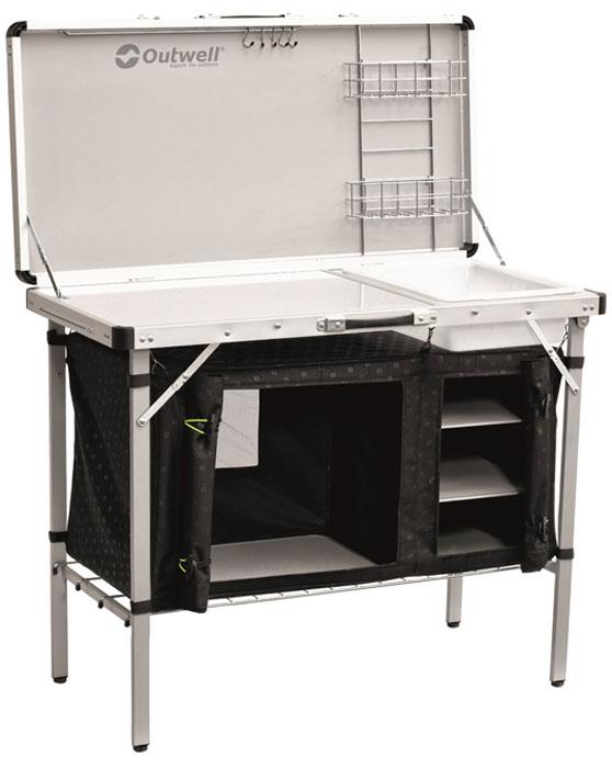 Стол складной Outwell Drayton Kitchen Table, 100 х 50 х 82 см530090Стол Outwell Drayton Kitchen Table для кемпинговой кухни с жесткими дверцами, большим ветрозащитным экраном и продуманной системой организации внутреннего пространства.- Жесткая дверца с ручкой, как в домашней мебели- Дверцы закрываются при помощи магнитов- Если дверцы не нужны, их можно свернуть- Прочный алюминиевый каркас- Вентиляционные отверстия, затянутые сеткой- Складная раковина- Ножки можно раздельно регулировать по высоте- Компактный в сложенном виде- Четыре полностью закрывающиеся полки- Крючки и решетчатые полки для удобства хранения- Сумка для хранения и перевозки
