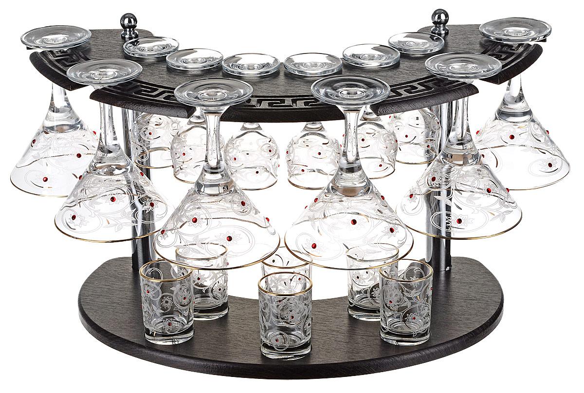 """Набор с барной стойкой 19 предметов с рисунком """"ВЬЮНОК""""Изделие можно использовать в посудомоечной машине, не использовать в духовом шкафу ,СВЧ и на открытом огне."""