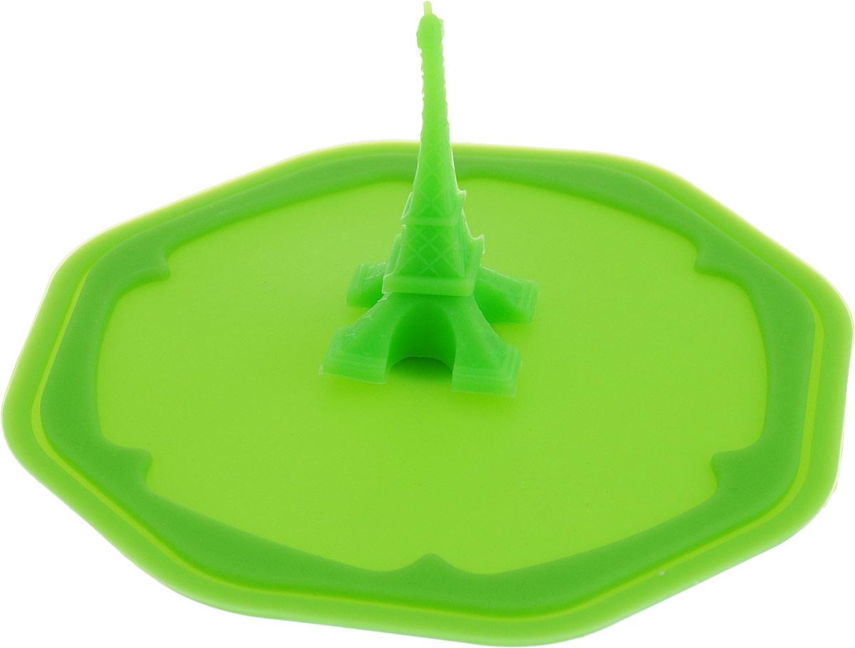 """Крышка-непроливайка Доляна """"Париж"""", цвет: зеленый. Диаметр 10 см"""