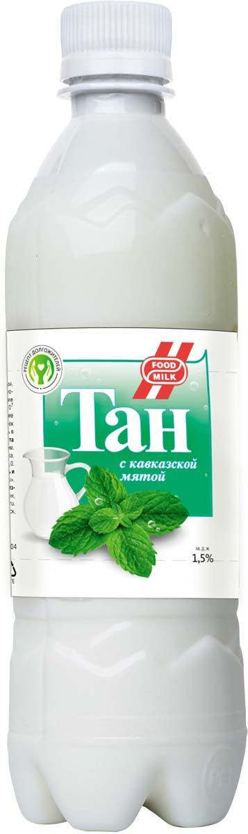 Food milk Тан с кавказской мятой 1,5 %, 500 мл