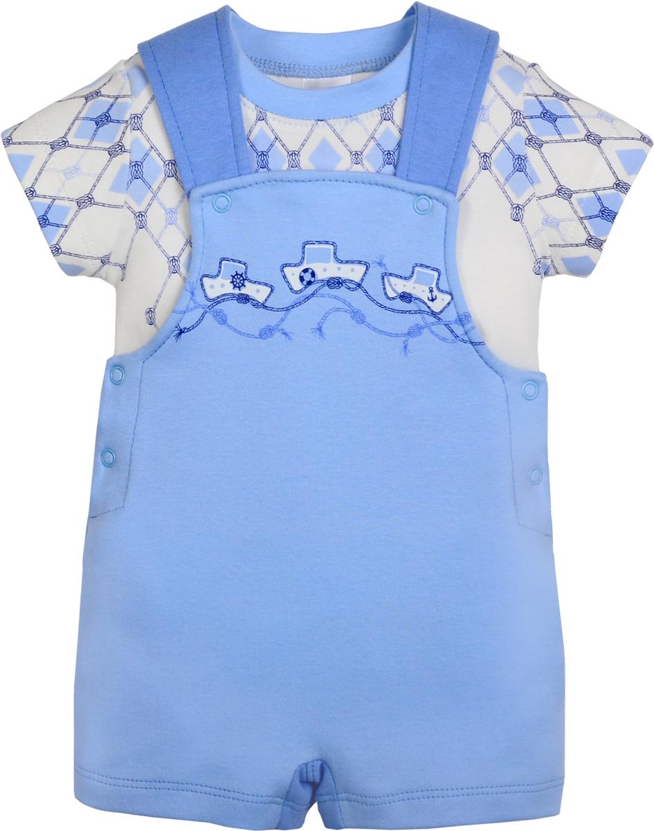Комплект одежды для мальчика Мамуляндия Морская: футболка, полукомбинезон, цвет: голубой, белый. 18-5006-2. Размер 74