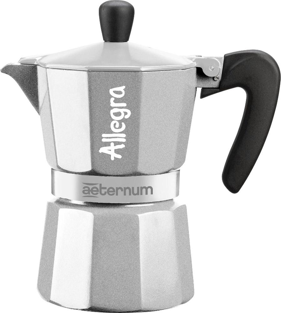 """Гейзерная кофеварка """"Aeternum Allegra"""" от Bialetti на 3 порции - это новый изысканный дизайн, разработанный в Италии. Изделие изготовлено из высококачественного алюминия. Эргономичная ручка и увеличенная толщина корпуса делают её еще более надежной и удобной в эксплуатации.Гейзерные кофеварки пользуются большой популярностью благодаря изысканному аромату. Кофе получается крепкий и насыщенный. Теперь и дома вы сможете насладиться великолепным эспрессо. Подходит для газовых плит."""