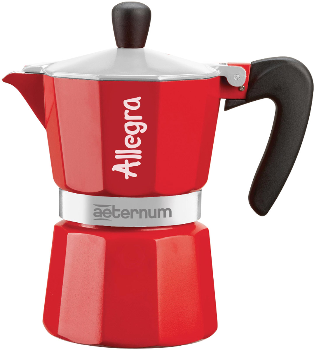 Кофеварка гейзерная Bialetti Aeternum Allegra, цвет: красный, на 3 чашки