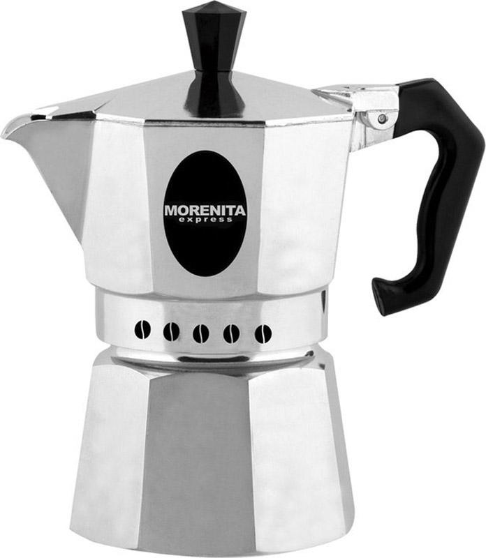 """Гейзерная кофеварка Morenita """"Express"""" изготовлена из высококачественного алюминия. Объема кофе хватает на 9 чашек. Изделие оснащено удобной пластиковой ручкой.Принцип работы такой гейзерной кофеварки: кофе заваривается путем многократного прохождения горячей воды или пара через слой молотого кофе. Удобство кофеварки в том, что вся кофейная гуща остается во внутренней емкости. Гейзерные кофеварки пользуются большой популярностью благодаря изысканному аромату. Кофе получается крепкий и насыщенный. Теперь и дома вы сможете насладиться великолепным эспрессо. Подходит для газовых, электрических и стеклокерамических плит. Объем: 360 мл."""