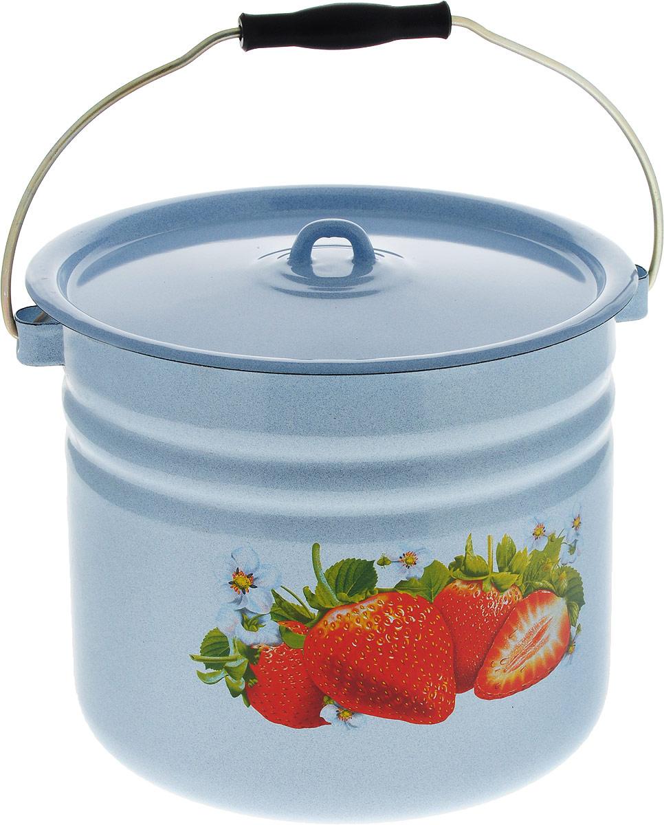 Ведро Лысьвенские эмали, с крышкой, цвет: голубой, 12 л. С-1224Ц/4Рб чайники для плиты лысьвенские эмали чайник 1 0 л заварочный рис лысьвенские эмали