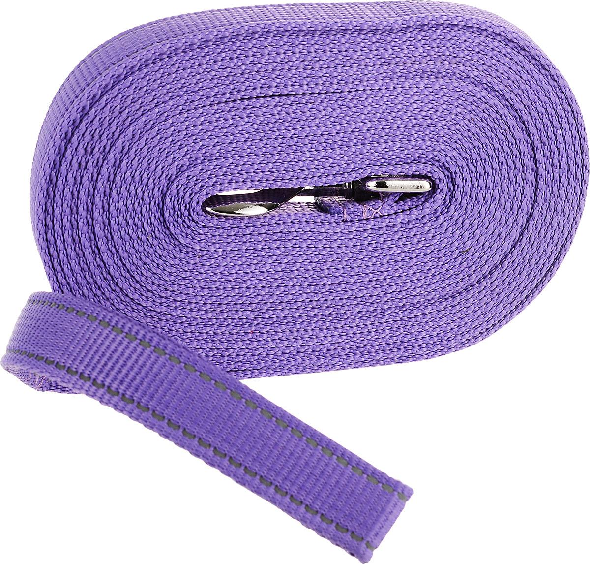 Поводок капроновый для собак Аркон, цвет: фиолетовый, ширина 2,5 см, длина 7 м комплект для животных аркон техно цвет оранжевый белый 2 предмета кт37
