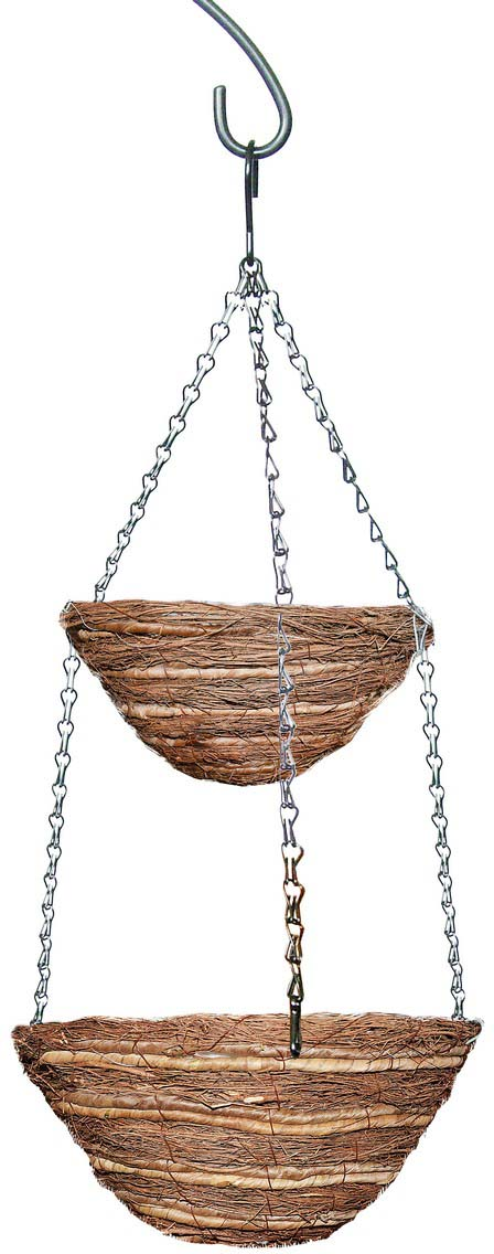 Кашпо плетеное Грин Бэлт, подвесное, двухярусное, диаметр 25-30 см кашпо подвесное плетеное keter page 9