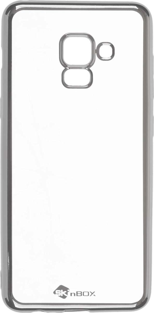 Skinbox Silicone Chrome Border 4People чехол для Samsung Galaxy A5 (2018)/A8 (2018), Silver blackview a8 смартфон