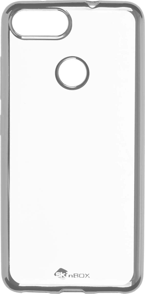 цена на Skinbox Silicone Chrome Border 4People чехол для ASUS ZenFone Max Plus (M1), Silver