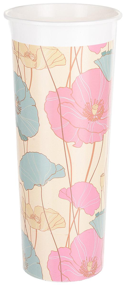 Ваза InGreen Маки, цвет: бежевый, голубой, розовый, высота 26 см ваза луговые маки