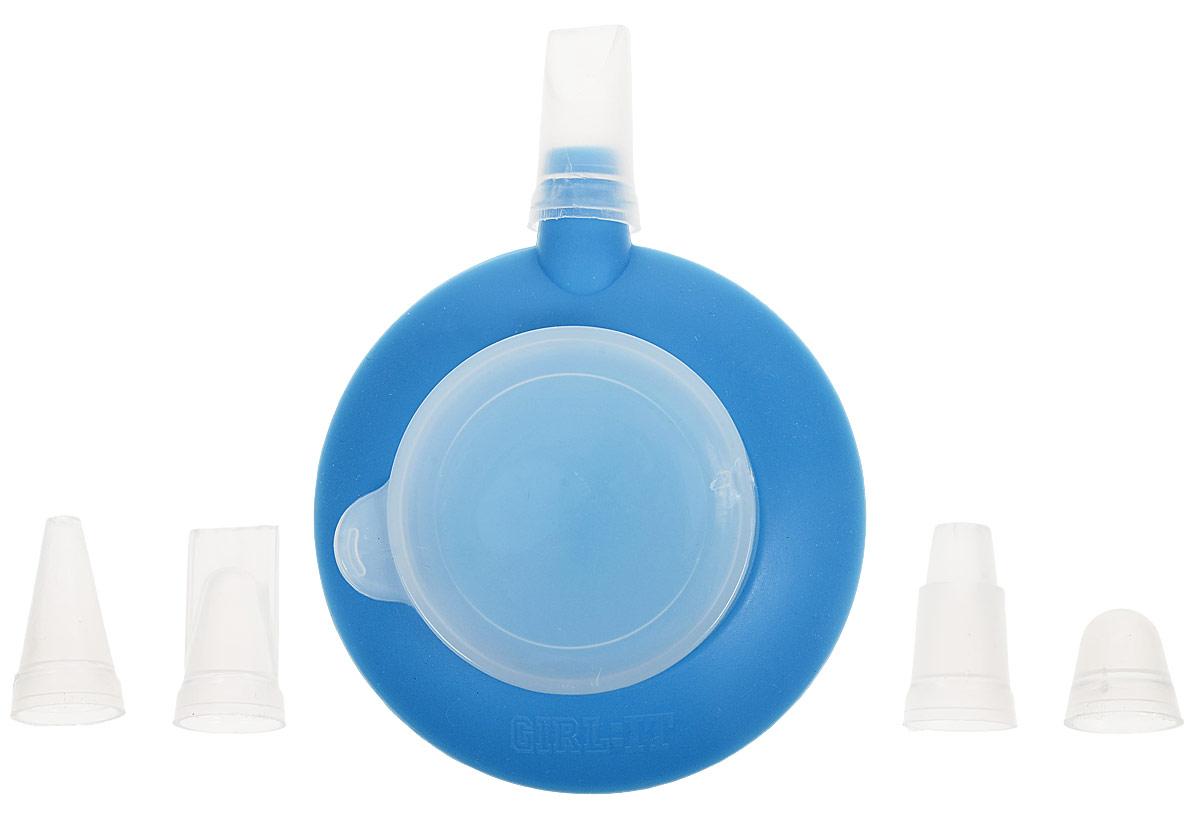 Емкость для крема Доляна Лавелли, с 3 насадками, цвет: голубой, 10 х 9 х 4 см мыльница maison керамика голубой 14 3 х 9 7 х 3 см