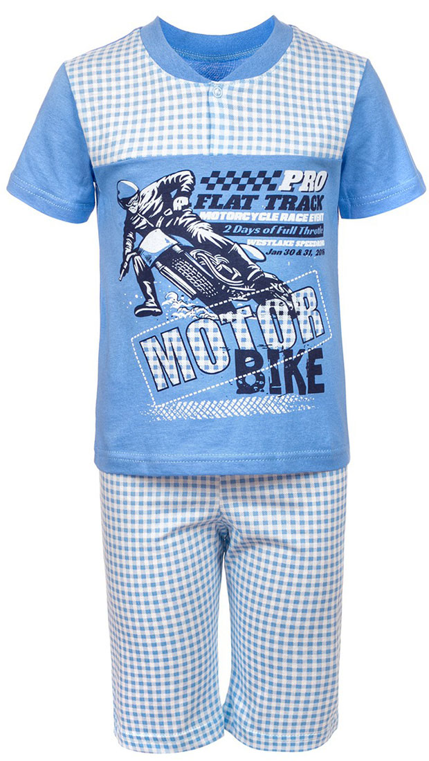 Пижама для мальчика M&D,цвет:  голубой.  ПЖ181402_10.  Размер 98/104 M&D