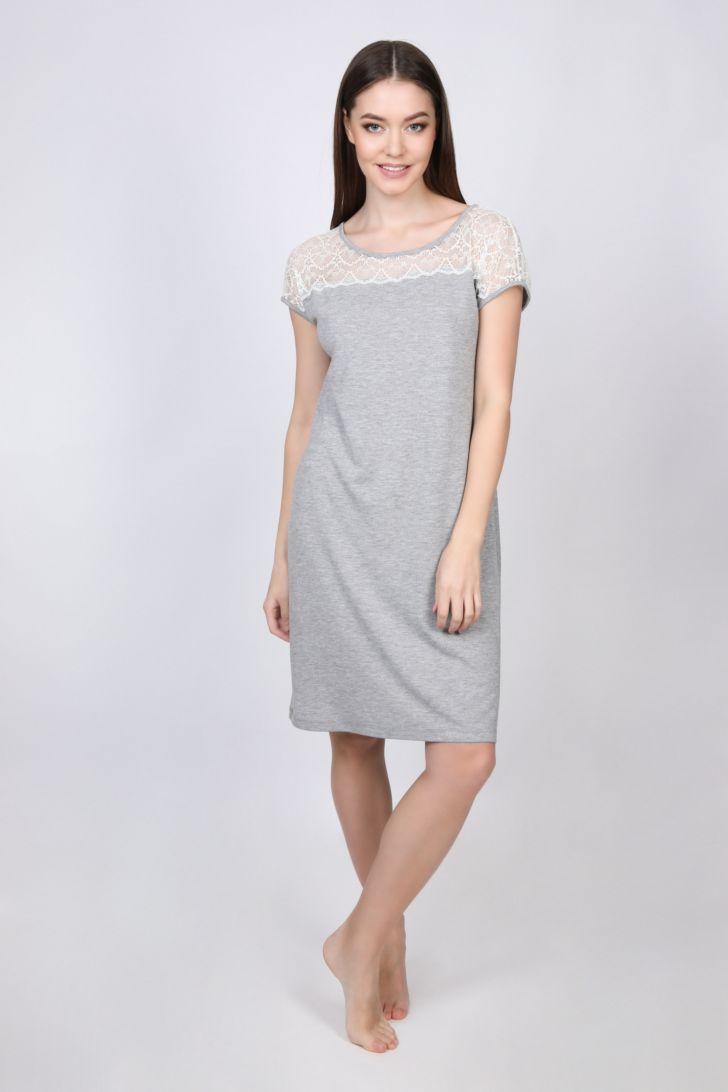 Платье домашнее Melado Lace, цвет: серый. 8313L-60017.1S-224. Размер 44
