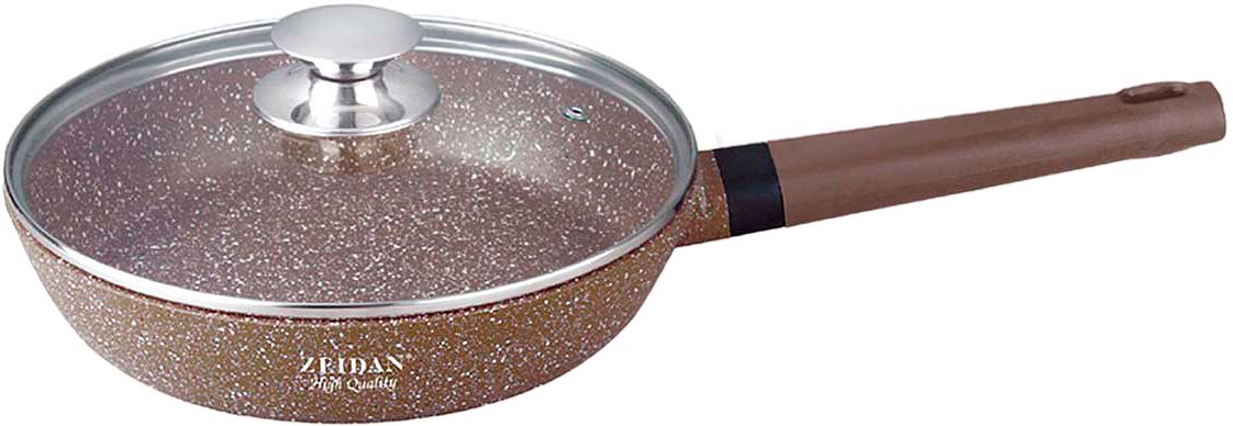 """Сковорода Zeidan Z-90157 со стеклянной крышкой  диаметром 26 см, высотой 6 см изготовлена из высококачественного литого алюминия с внутренним  антипригарным каменным покрытием с гранитной крошкой """"GRAVELL"""". Сковорода имеет  ручку с силиконовым покрытием, что обеспечивает  надёжную защиту рук и не требует использования прихваток. Высококачественный литой алюминий отличается долговечностью и способностью быстро  и равномерно нагреваться и аккумулировать тепло, что приводит к экономии энергии и способствует быстрому приготовлению пищи. Внешнее каменное  покрытие."""