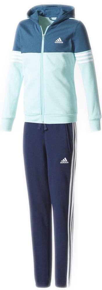 Спортивный костюм для девочки Adidas Yg Hood Cot Ts, цвет:  синий, бирюзовый.  CF1250.  Размер 128 Adidas