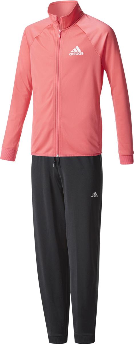 Спортивный костюм для девочки Adidas Yg S Entry Ts, цвет: розовый, черный. CF1245. Размер 152CF1245Комфортный костюм для юной спортсменки. Модель из гладкого трикотажа. Олимпийка с застежкой на контрастную молнию, воротником-стойкой и передними карманами. Зауженные брюки с боковыми карманами и контрастными завязками.Длина по внутреннему шву 69 смОлимпийка: передние прорезные карманы; застежка на молнию; воротник-стойка; рукава реглан; рифленые манжетыБрюки: боковые карманы; рифленый пояс на регулируемых завязках-шнурках; рифленые манжетыЗауженный крой