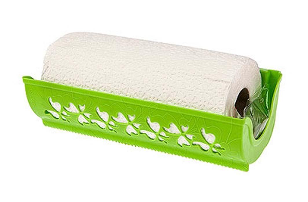 """Держатель Berossi """"Fly"""", изготовленный из высококачественного пластика, предназначен для бумажных полотенец. Изделие оснащено присосками и шурупами, с помощью которых вы сможете подвесить его в любом удобном месте двумя способами. Подходит для рулонов различных размеров, длинной до 26,5 см. Держатель декорирован резным изображением бабочек. В комплекте - рулон бумажных полотенец.Такой держатель станет полезным аксессуаром в домашнем быту и идеально впишется в интерьер современной кухни."""