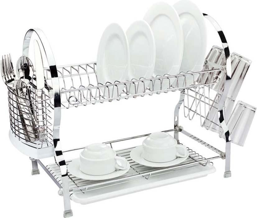 """Двухъярусная сушилка для посуды """"Mayer & Boch"""" выполнена из  хромированной нержавеющей стали и полипропилена. Изделие  оснащено поддоном для стекания воды и подставками для  столовых приборов и стаканов. Сушилка может  быть установлена как на столе, так и подвешена на стену при  помощи крючков (не входят в комплект).  Размер сушилки (с учетом подставок): 54 см х 26 см х 41 см. Размер поддона: 38 см х 25 см х 2,5 см."""