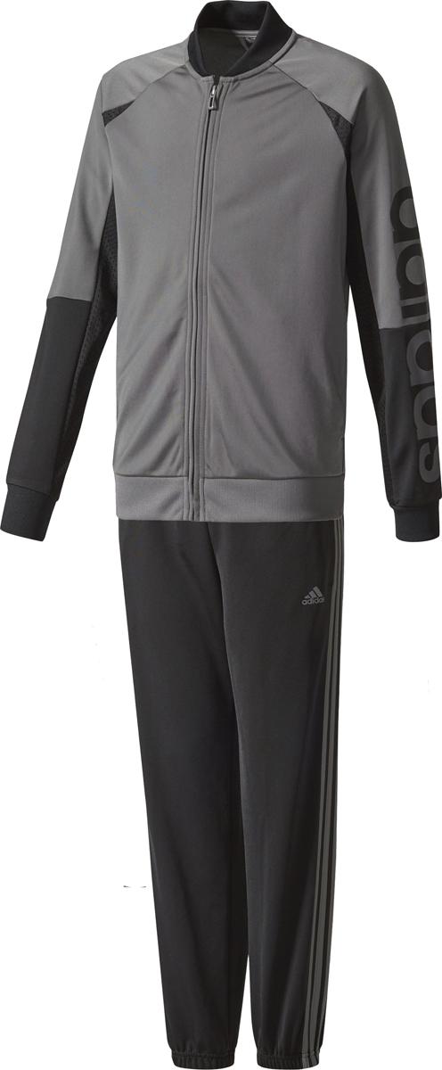 Спортивный костюм для мальчика Adidas Yb Linear Ts Ch, цвет: серый, черный. CE8602. Размер 116 шорты для мальчика adidas yb ess m3s wvsh цвет черный ab6025 размер 128