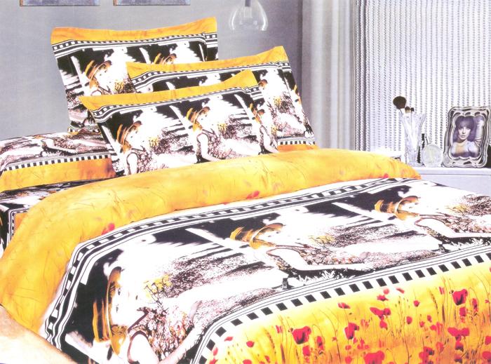 Комплект белья СайлиД Kassidyn, евро, наволочки 50x70, 70x70, цвет: желтый, белый