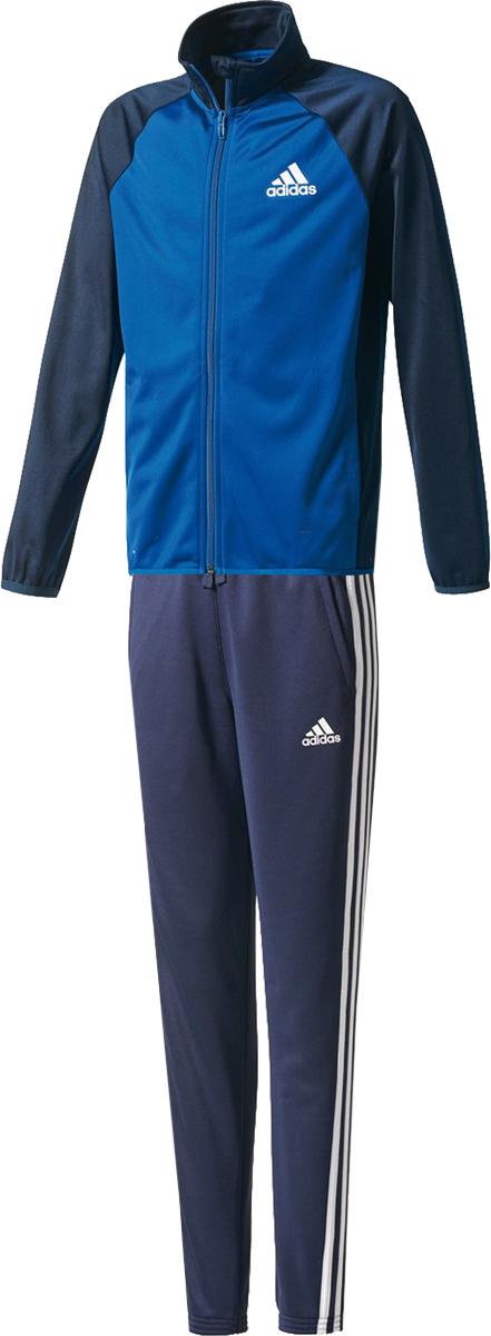Спортивный костюм для мальчика Adidas Yb Ts Entry Ch, цвет: синий. CE8587. Размер 110CE8587Костюм спортивный Adidas Yb Ts Entry Ch – лучший выбор для активного ребенка. Изделие характеризуется максимальной комфортностью и фирменной качественностью. Для пошива комплекта применен прочный текстиль, долговечный и легкий. Костюм наделен непревзойденной мягкостью и функциональностью. Олимпийка имеет удобный покрой с длинной молнией, защитой подбородка, воротником-стойкой и рукавами реглан. Наличие пары боковых карманов позволит согреть руки или взять с собой необходимые мелочи. Брюки, входящие в комплект, наделены эластичным поясом с кулиской, рифлеными манжетами и парой карманов. Модель не будет сковывать движения ребенка, благодаря своей продуманной конструкции. Безупречное качество является залогом износостойкости изделий. Говоря о внешнем виде костюма, стоит отметить, что его лаконичный фирменный дизайн понравиться самому требовательному юному спортсмену.