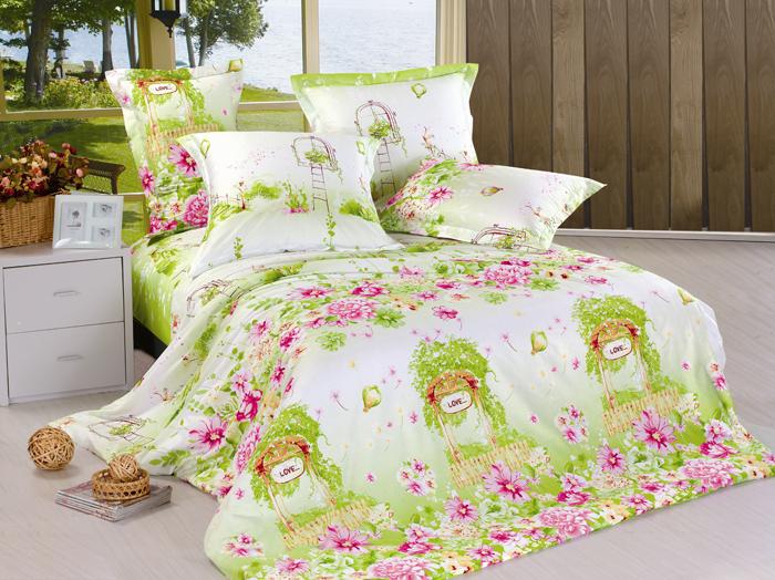 """Комплект белья СайлиД """"Life"""", семейный, наволочки 50x70, 70x70, цвет: белый, зеленый, розовый"""