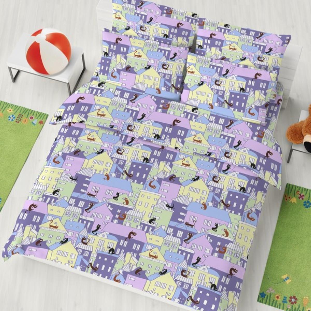 """Комплект белья детский Letto """"Багира"""", 1,5-спальный, наволочки 50x70, цвет: сиреневый"""