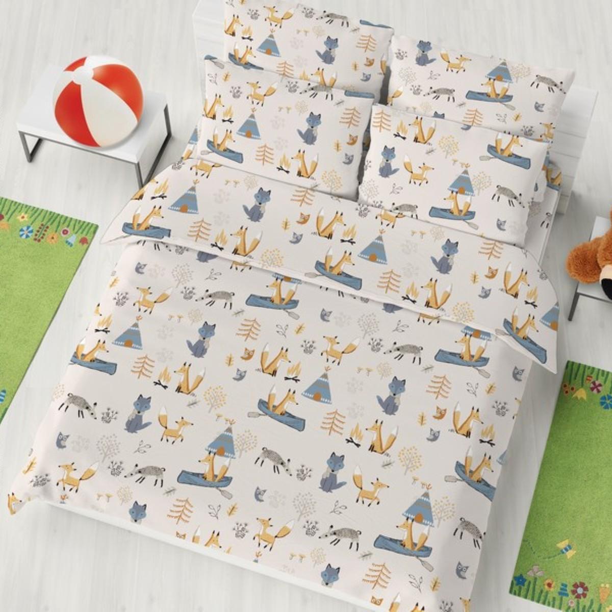 """Комплект белья детский Letto """"Лисята"""", 1,5-спальный, наволочки 50x70, цвет: серый"""