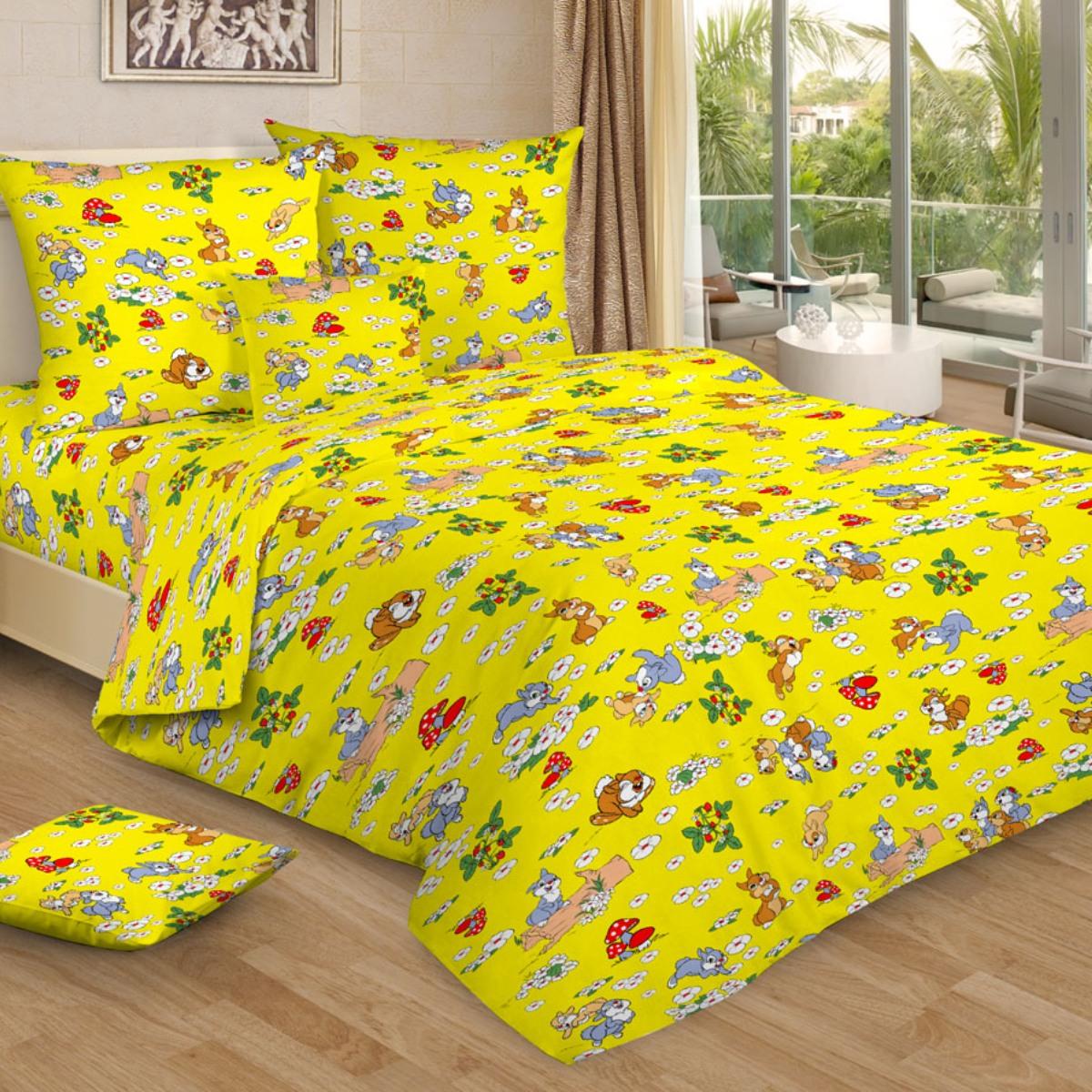 """Комплект белья детский Letto """"Веселые зайчата"""", 1,5-спальный, наволочки 50x70, цвет: желтый"""