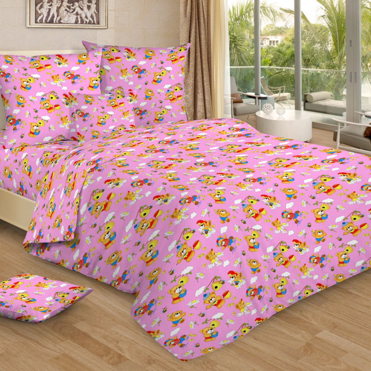"""Комплект белья детский Letto """"Медовый мишка"""", 1,5-спальный, наволочки 50x70, цвет: розовый"""