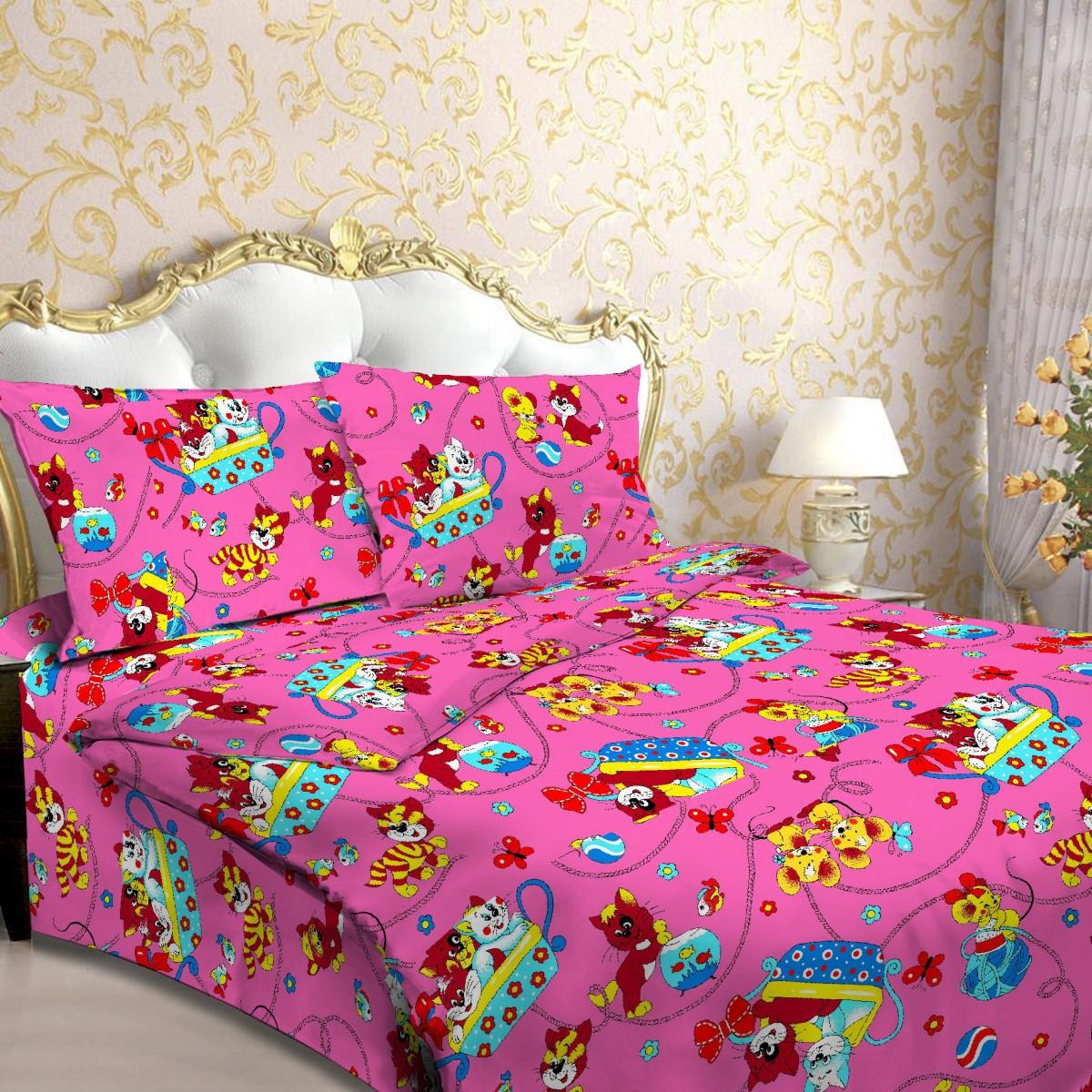 """Комплект белья детский Letto """"Мяу"""", 1,5-спальный, наволочки 50x70, цвет: розовый"""