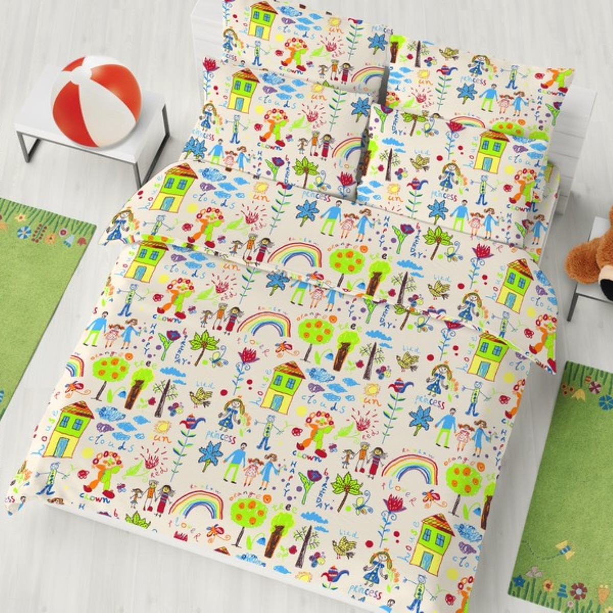"""Комплект белья детский Letto """"Рисунки"""", 1,5-спальный, наволочки 50x70, цвет: зеленый"""