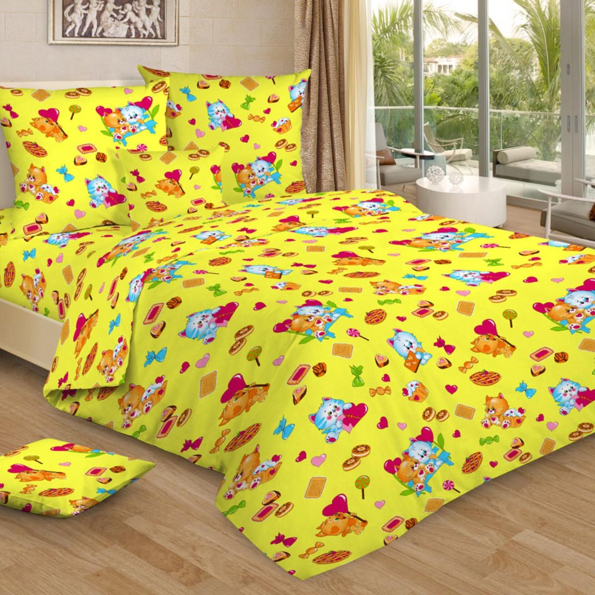 """Комплект белья детский Letto """"Сластена"""", 1,5-спальный, наволочки 50x70, цвет: желтый"""