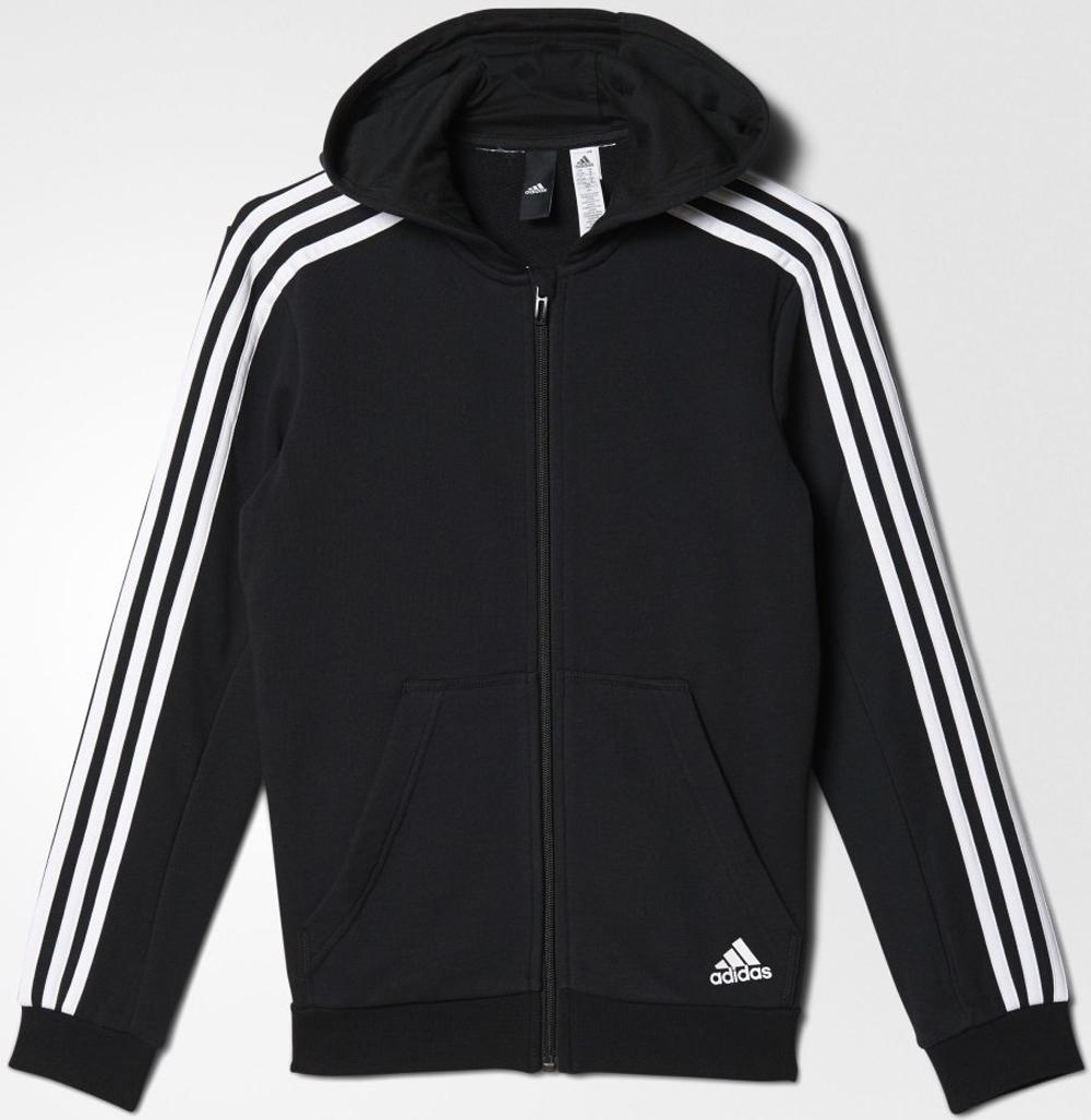 Толстовка для мальчика Adidas Yb 3s Fz Hood, цвет: черный, белый. BQ2820. Размер 128 шорты для мальчика adidas yb ess m3s wvsh цвет черный ab6025 размер 128