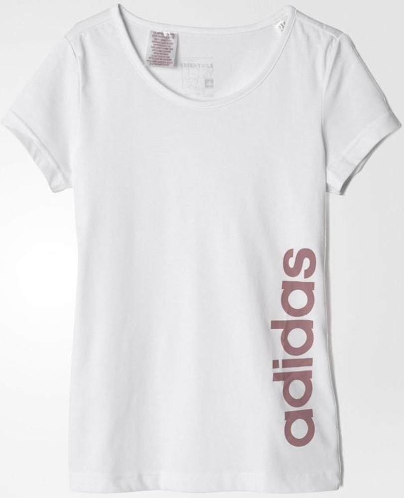 Футболка для девочки Adidas Yg Ess Lin Tee, цвет: белый. AB4840. Размер 164 new arrival original adidas ess lin fz hd women s jacket hooded sportswear