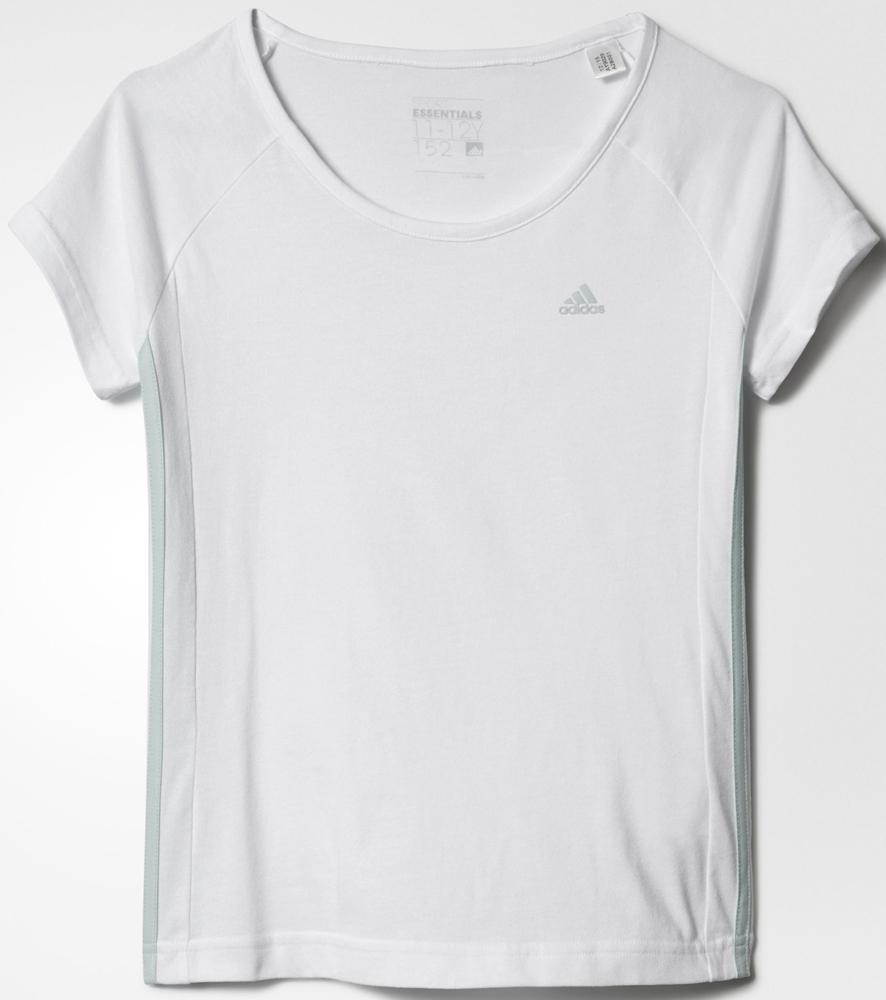 Футболка для девочки Adidas Yg Ess M Tee, цвет: белый. AY9029. Размер 152 adidas футболка спортивная дет yg aa ling t mgreyh white