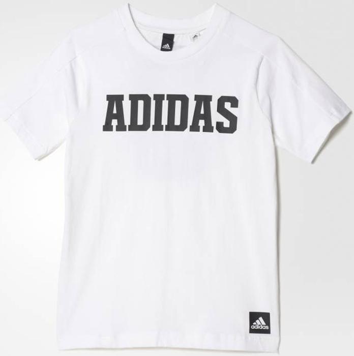 Футболка для мальчика Adidas Yb Xcite Tee, цвет: белый, черный. BK3456. Размер 164 шорты для мальчика adidas yb ess m3s wvsh цвет черный ab6025 размер 128