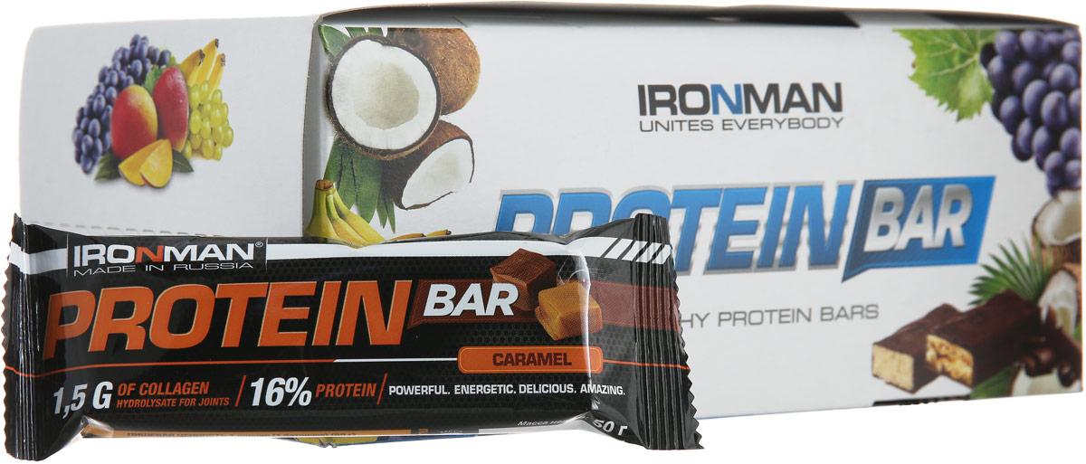 Батончик энергетический Ironman Protein Bar, с коллагеном, карамель, темная глазурь, 50 г х 24 шт батончики спортивные академия т батончик champions high protein bar 40 г шоубокс 16 шт