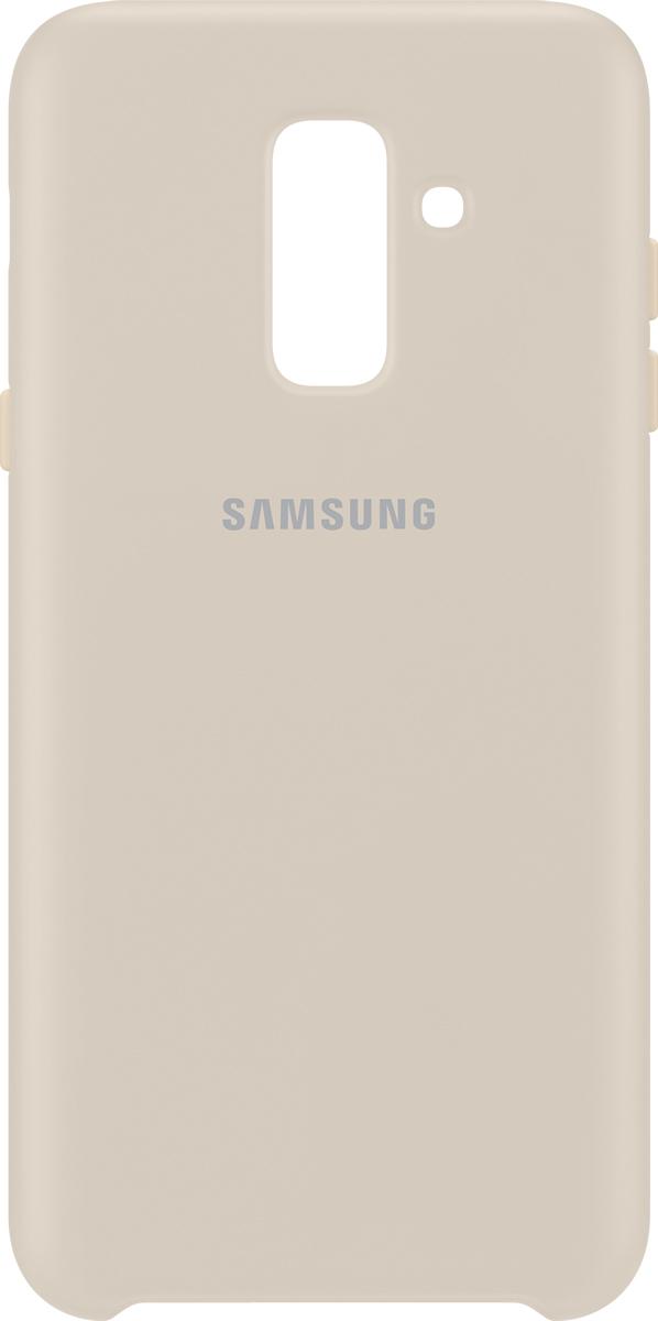 Samsung Dual Layer Cover чехол для Samsung Galaxy A6+ (2018), GoldSAM-EF-PA605CFEGRUЗащита, которая не мешает комфортному использованию смартфона. Чехол Dual Layer Cover для Samsung Galaxy A6+ обеспечивает двойную защиту для вашего устройства. Его жесткая внешняя оболочка защищает от ударов, а мягкое внутреннее покрытие обеспечивает отличную амортизацию. Элегантный дизайн этого чехла с гладким, приятным на ощупь покрытием обеспечивает удобство в использовании. Его мягкие и нежные цветовые оттенки сделают ваше устройство действительно непохожим на другие и прекрасно дополнят ваш стиль.