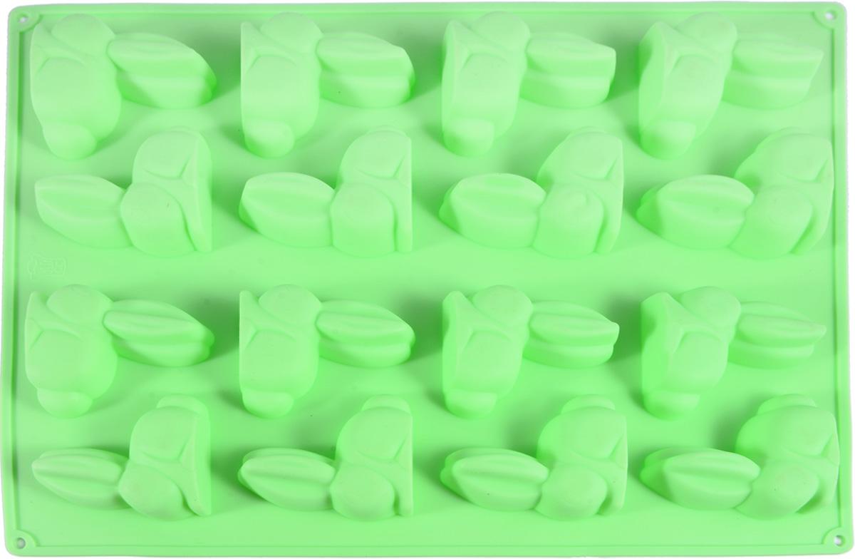 Форма изготовлена из 100% экологически чистого силикона. Формы из силикона имеют высокую теплопроводность, отличаются хорошими  антипригарными свойствами, их не требуется смазывать маслом (кроме первого применения).  Силиконовые формы выдерживают температуру от -40°С до +230°С, при этом не вступают в химическую реакцию с продуктами и не выделяют  вредных веществ.  Силиконовые формы не впитывают никакие запахи, легко моются, не бьются. Их легко и удобно хранить.  В таких формах вы легко можете приготовить необычный красивый шоколад, заморозить лед и даже испечь мини кексики.  Силиконовые формы отличаются многообразием форм и размеров, что способствует расширению творческих идей, а модные, яркие цвета  создают праздничное настроение.