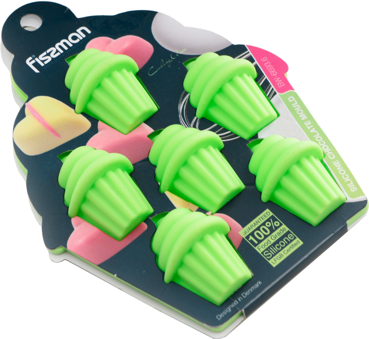 """Форма для льда и шоколада Fissman """"Маффин"""", 6 ячеек, цвет: зеленый, 15 х 11,5 х 2 см"""