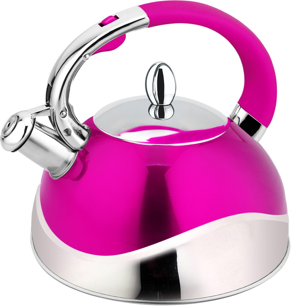 """Чайник """"Mercury"""" изготовлен из высококачественной нержавеющей стали 18/10. Нержавеющая сталь обладает высокой устойчивостью к коррозии, не вступает в реакцию с холодными и горячими продуктами и полностью сохраняет их вкусовые качества.Чайник оснащен эргономичной ручкой с покрытием Soft Touch. Носик чайника имеет откидной свисток, звуковой сигнал которого подскажет, когда закипит вода. Крышка носика открывается с помощью специальной клавиши.Энергосберегающее капсульное дно.Благодаря чайнику """"Mercury"""" вы будете постоянно ощущать тепло и уют на вашей кухне.Подходит для всех типов плит, включая индукцию."""