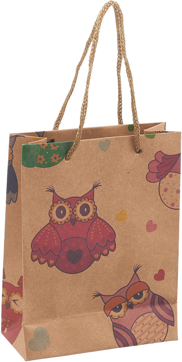 Пакет подарочный Совы, цвет: мультиколор, 11 х 5,5 х 14,5 см. 2687175 пакет подарочный арт и дизайн вояж цвет мультиколор 36 х 26 х 11 5 см 3092217