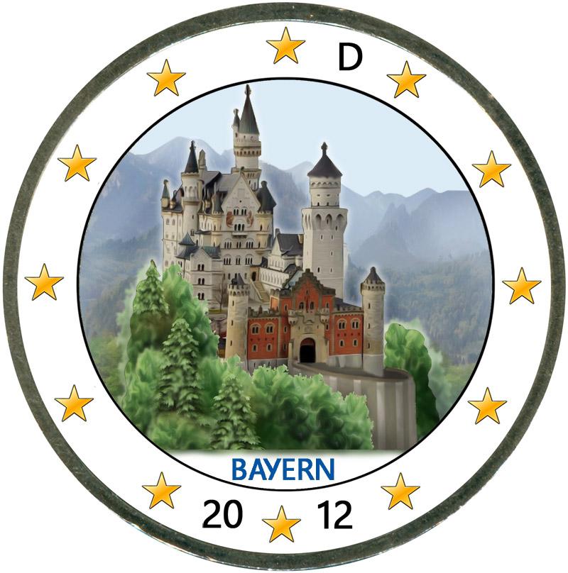 Монета номиналом 2 евро 2012 Германия, Бавария, Замок Нойшванштайн (цветная)