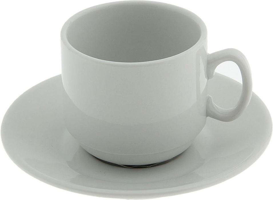 """Кофейная пара """"Мокко. Белье"""" изготовлен из фарфора высокого качества. Дизайн изделия снежно-белого цвета не содержит ничего лишнего. Лаконичный стиль делает предлагаемую модель удивительно элегантной.  Объем чашки: 100 мл."""