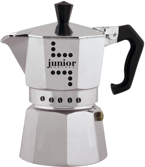 """Гейзерная кофеварка """"Junior"""" - недорогая и надежная модель в классическом узнаваемом  дизайне, очень простая в использовании. Она сделает каждую чашку приготовленного в ней кофе  по-итальянски ароматной и крепкой.Секрет неизменно идеального кофе заключается в  особой форме корпуса гейзерной кофеварки. Симметричная огранка равномерно распространяет  тепло от нагревающей поверхности внутри кофеварки, поэтому кофе получается насыщенным,  ароматным и действительно крепким.Гейзерную кофеварку """"Junior"""" можно использовать для  приготовления кофе """"мока"""" на электрических и газовых плитах, а так же других нагревающих  поверхностях, кроме индукционных.Объем резервуара для воды: 150 мл."""