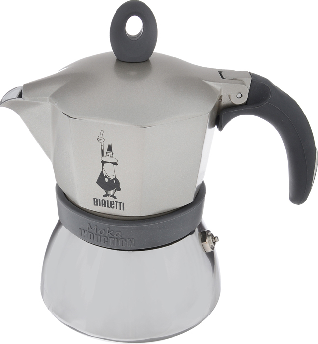 """Компактная гейзерная кофеварка Bialetti """"Moka Induction"""" изготовлена из  высококачественного алюминия и стали. Объема кофе хватает на 3 чашки. Изделие  оснащено удобной обрезиненной ручкой.  Принцип работы такой гейзерной кофеварки - кофе заваривается путем  многократного прохождения горячей воды или пара через слой молотого кофе.  Удобство кофеварки в том, что вся кофейная гуща остается во внутренней емкости.    Гейзерные кофеварки пользуются большой популярностью благодаря изысканному  аромату.  Кофе получается крепкий и насыщенный.  Теперь и дома вы сможете насладиться великолепным эспрессо.  Подходит для газовых, электрических, стеклокерамических  индукционных плит. Нельзя мыть в  посудомоечной машине. Высота (с учетом крышки): 17 см."""