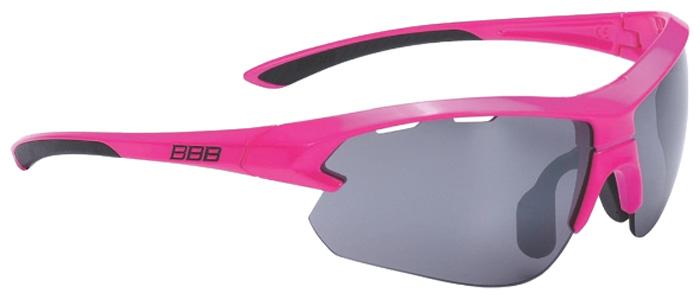 Очки солнцезащитные велосипедные BBB 2018 Impulse small PC Smoke Flash Mirror Lenses, цвет: неоновый розовый, черный